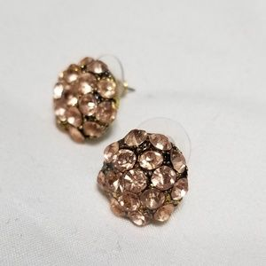 Pink and gold stud earrings